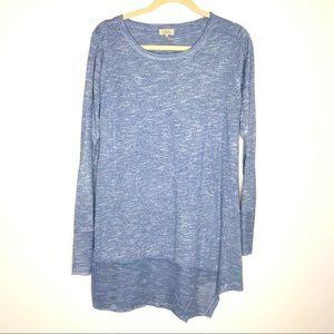 LOGO by Lori Goldstein blue long sleeve tunic top